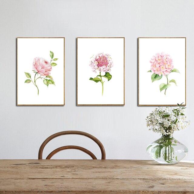 US $4.2 30% OFF|Unframed Auffällige Aquarell Blumen Leinwand Kunstdruck  Malerei Der Chinesischen Rose Moderne Wandbild Für Küche Wohnzimmer Dekor  in ...
