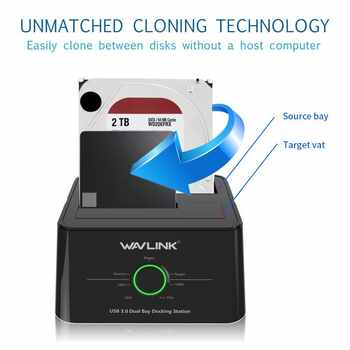Wavlink Dual Bay SATA to USB3.0 External Hard Drive Docking Station for 2.5/3.5inch HDD/SSD Offline Clone/Backup/UASP Functions