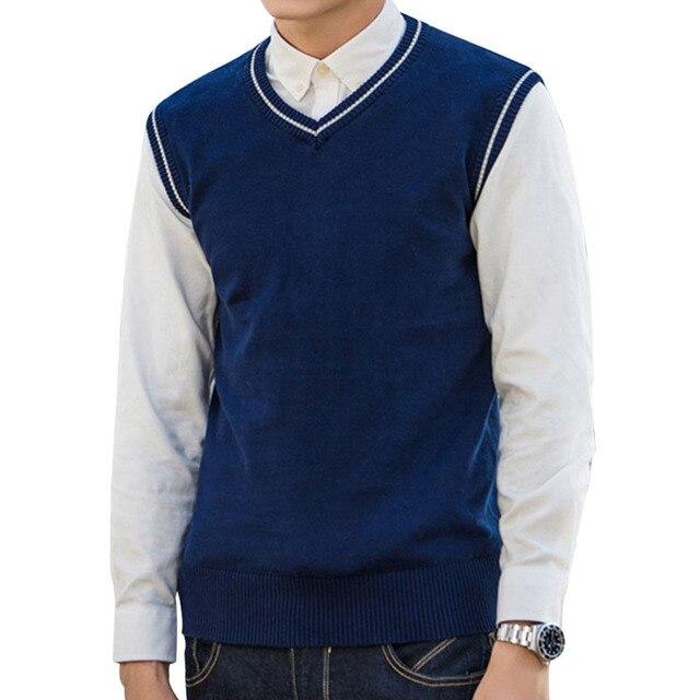 New spring autumn men v neck sleeveless sweaters Korean Style ...