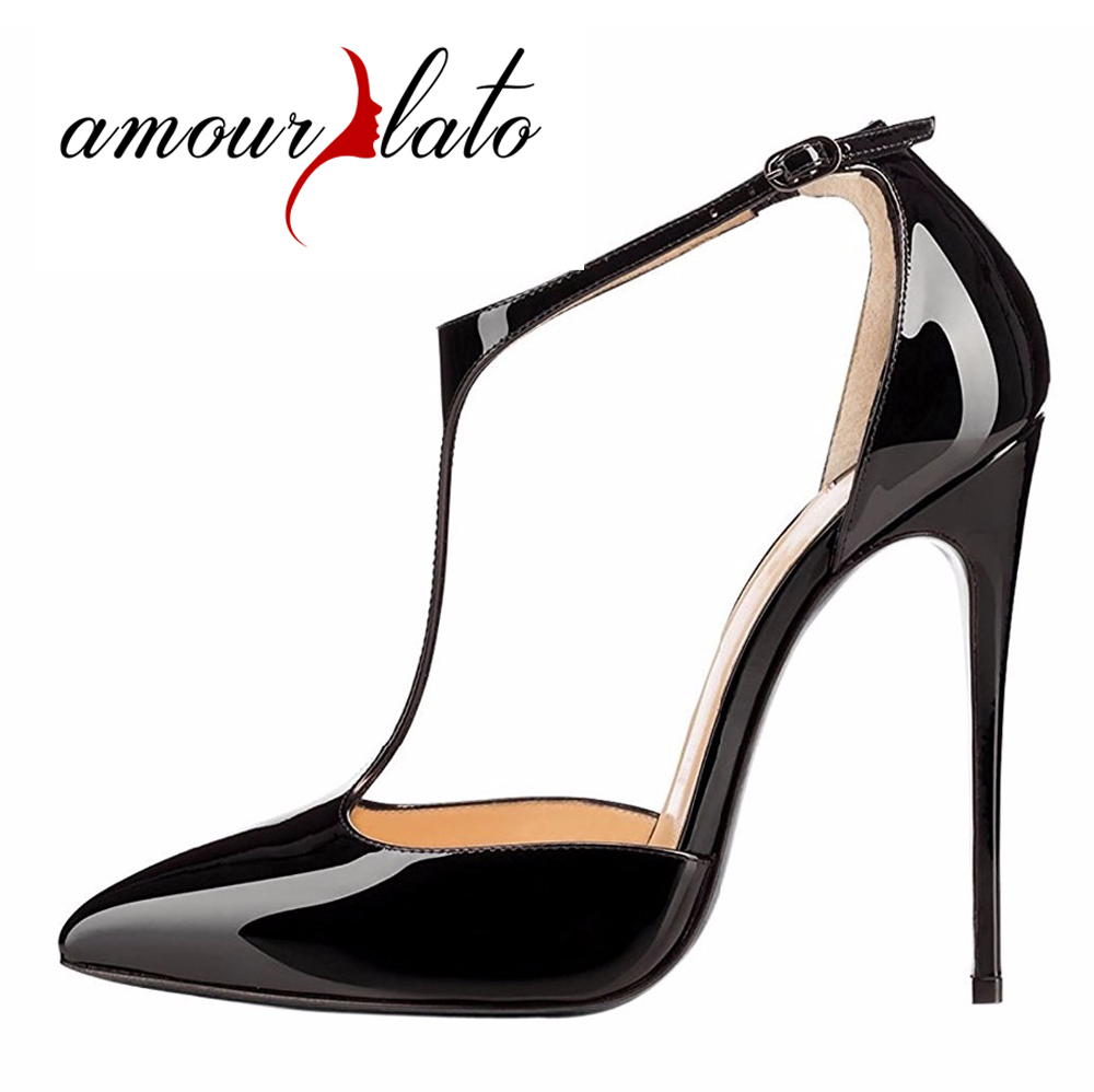 2017 hot women metal strappy pumps sandals high heels wedding shoes stiletto ladies pointy toe high heeled ankle strap shoes Amourplato Women's Fashion 12cm Stiletto T-Strap Pointy Toe Dress Pumps Ankle Strap High Heels Pumps Cut Out Party Wedding Shoes