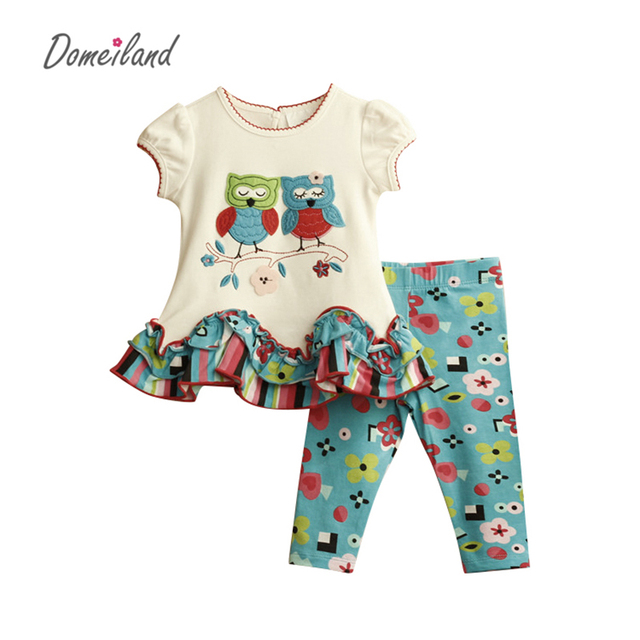 2017 new fashion brand Domeiland girls boutique outfits clothing cotton sets for cute OWL short sleeve pants clothing suits