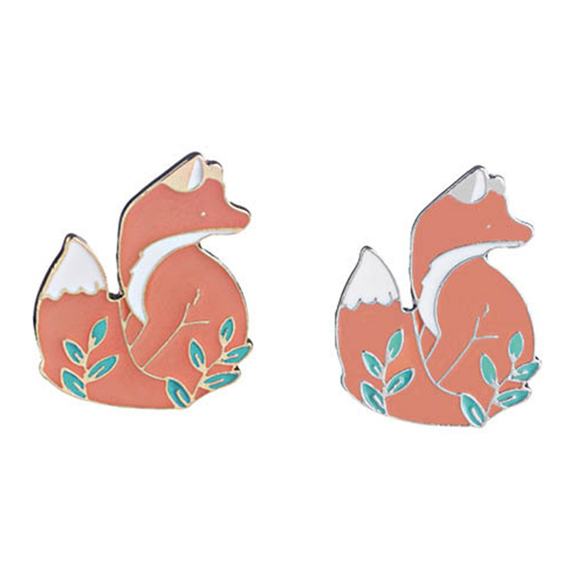 1pc Cute Fox Gold Silver Metal Enamel Brooch Pin Fashion Jewelry Badges Hat Backpack Collar Lapel Coat Accessories