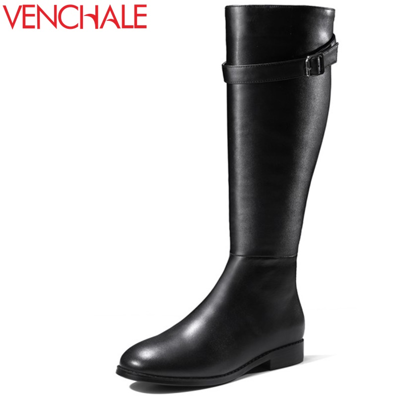 VENCHALE fashion high boots 2017 winter new come side zipper round toe women buckle shoes quality low heel handmade long boots 2018 new arrival microfiber round toe buckle solid fashion winter boots superstar warm thick heel handmade women ankle boots l01