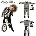 Moda bebê meninos meninas crianças crianças roupas de lã quente de malha xadrez listrado calças bebês infantil gorros tyh-20421