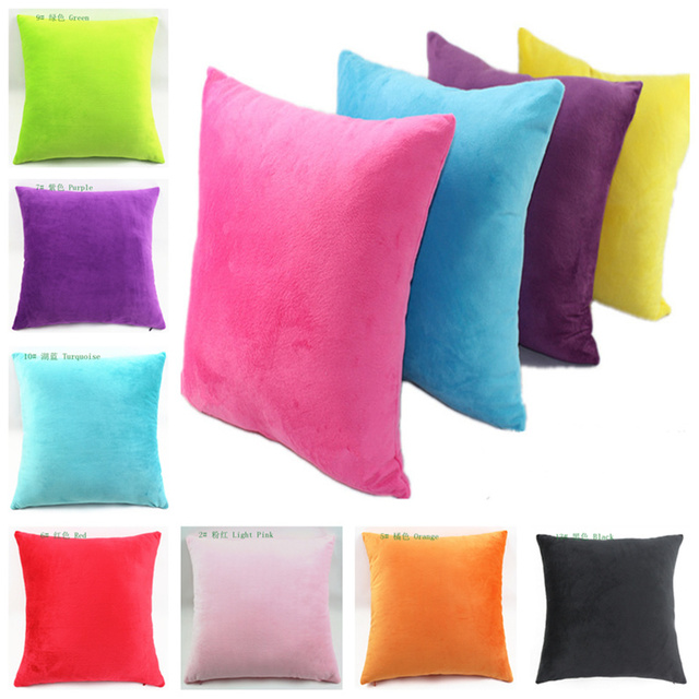 soft decorative pillows. Cheap Hot Selling Candy Colored Two Sided Pure Super Soft Short Plush Decorative  Pillows For Gift