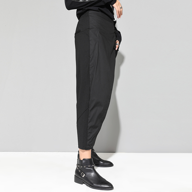 XITAO Black Tide Long Harem Pants Women Elastic Waist Button Fly Casual Modis Front Patchwork Female Trouser 2019 Autumn LJT3926 3