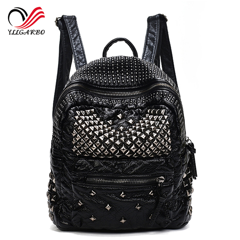Fashion Women Washed Leather Rivet Backpack Women's Backpacks for Teenage Girls leisure Soft Black School Bag Ladies Travel Bags 2016 fashion women backpacks rivet soft sheepskin leather bags shoulder for teenage girls female travel bag free gift