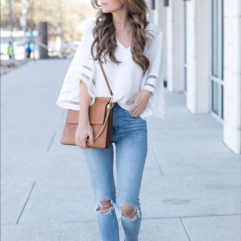 HTB1kw1nrHArBKNjSZFLq6A dVXaS - Summer streetwear style women cute chiffon blouses casual flare sleeve shirts white loose tops patchwork mesh shirts