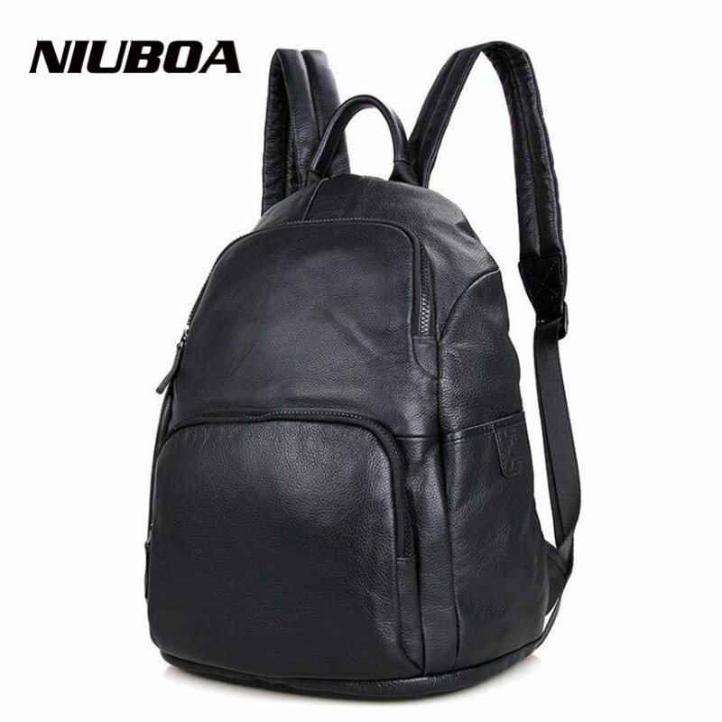 NIUBOA Genuine Leather Men Backpack Man Students Travel Bags High Quality Trendy Business Bag For Leisure Laptop Black Bag high q cartoon rick and morty 2017 new arrival backpack students couple printing candy color leisure bags
