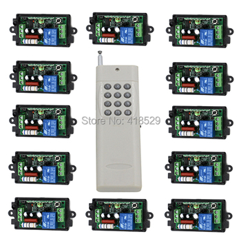 rf wireless remote control light switch 110V220v,12CH Radio for light LED ON OFF 12 Receiver &1 transmitter fixed Code SKU: 5059