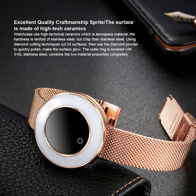 Lady Smart Bracelet Waterproof Steel Strap Heart Rate Monitoring Blood Pressure Smart Watch