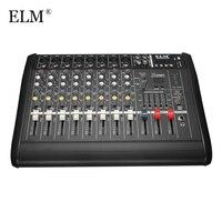 ELM Профессиональный 8 канальный аудио микшер усилитель караоке микрофон звук микшерный пульт встроенный 48 В Phantom Мощность с USB