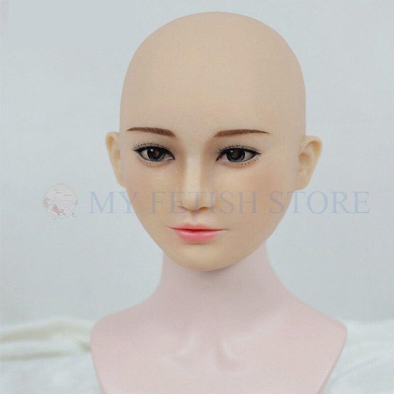 (M04 +) Crossdress fait main Silicone pleine tête femme visage Kigurumi Cosplay DMS masque Crossdresser poupée Halloween fête masque