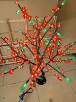 0.8M /2.6ft LED Cherry Blossom Tree Outdoor indoor Christmas Wedding Garden Holiday Light Decor 240 red flower+greel leaf