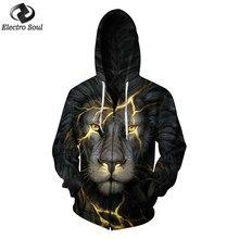 Men's Zipper Hoodie Hip Hop 3D print Scar lion digital printing zipper with cap clothing plus size s-6xl Comfortable and warm