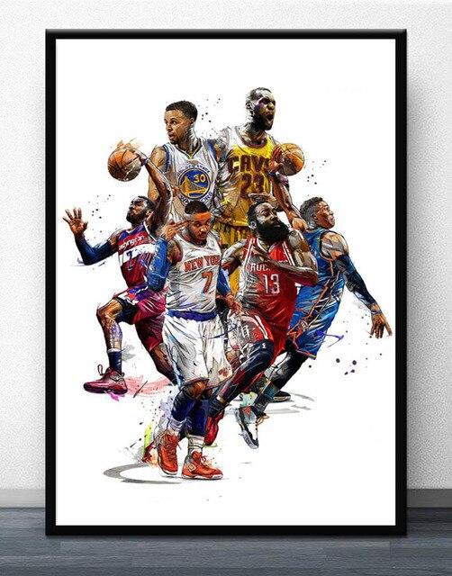 3b48222d0e3 FX1783 LeBron James NBA Basketball Super Stars Stephen Curry Comic Poster  Art Silk Light Canvas Home Room Wall Printing Decor