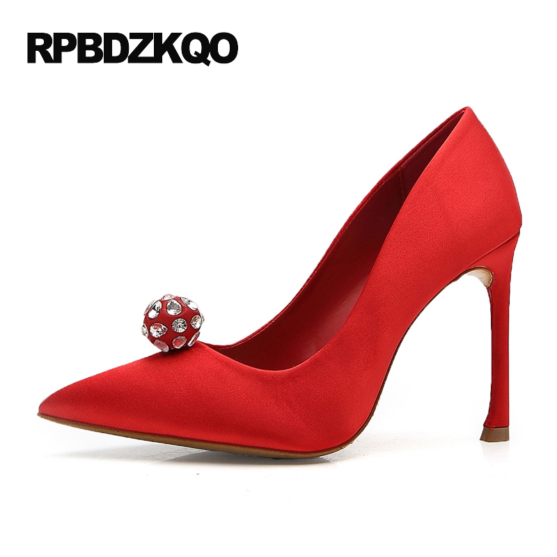 Size 4 34 Bride Crystal 33 Rhinestone Super Diamond Pumps Stiletto Ladies Shoes For Wedding Pointed Toe Satin High Heels Red 4 34 small size gold shoes wedding pointed toe 7cm 3 inch satin high heels stiletto 33 flower pumps ladies colourful embroidery