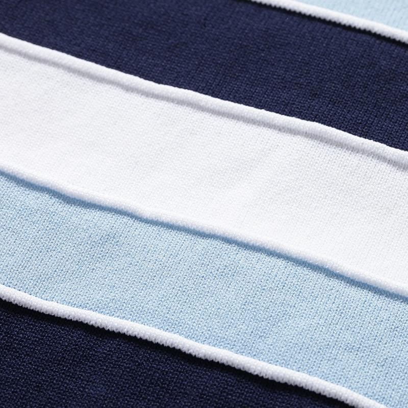 Para 2019 Corta Sky Las Redondo Mujeres Estilo Rayas Blusa Camisa Europeo Punto Nuevo Verano Cuello De Manga Blue CHxCzwZrq