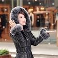 2016 de Alta Calidad de Las Mujeres de Invierno Chaquetas de la Capa de Espesor Caliente Hacia Abajo Chaqueta de piel de Zorro Con Capucha Marca Correa de Las Mujeres Parka Chaqueta de Cuero