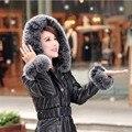 2016 de Alta Qualidade das Mulheres Casacos Casaco de Inverno Quente Grossa Para Baixo Casaco de Pele De Raposa Com Capuz Parka Jaqueta de Couro Da Marca Mulheres Cinto