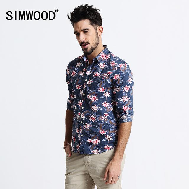 2016 Recién Llegado de SIMWOOD Otoño Marca de Moda Hombres de la Camisa de Estampado de manga Larga de Algodón Slim Fit Camisas Envío Gratis CS1514