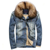 Mens New Winter Thick Denim Jacket 2015 Fashion Cashmere Casual Cowboy Jacket Mens Brand Plus Velvet