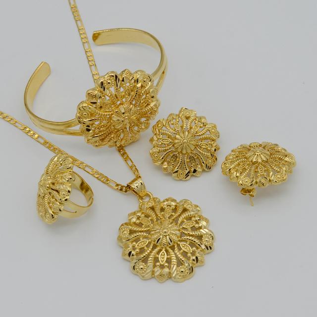 Ethiopian Jewelry set Pendant Necklace/Bangle/Earring/Ring/African Jewellry  Gold Plated Ethiopia Wedding Bride set