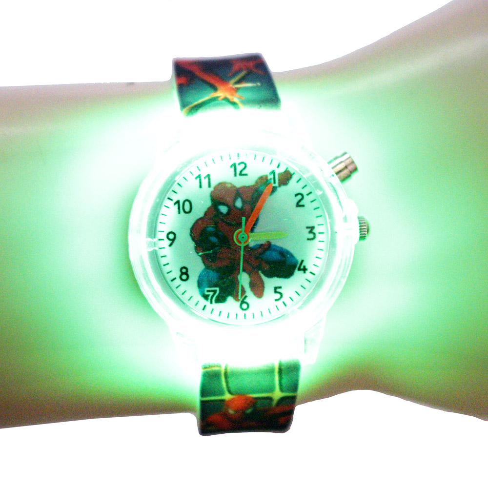 Children Watches Clock Flash-Light Spiderman Wrist Gift Birthday-Party Colorful Electronic