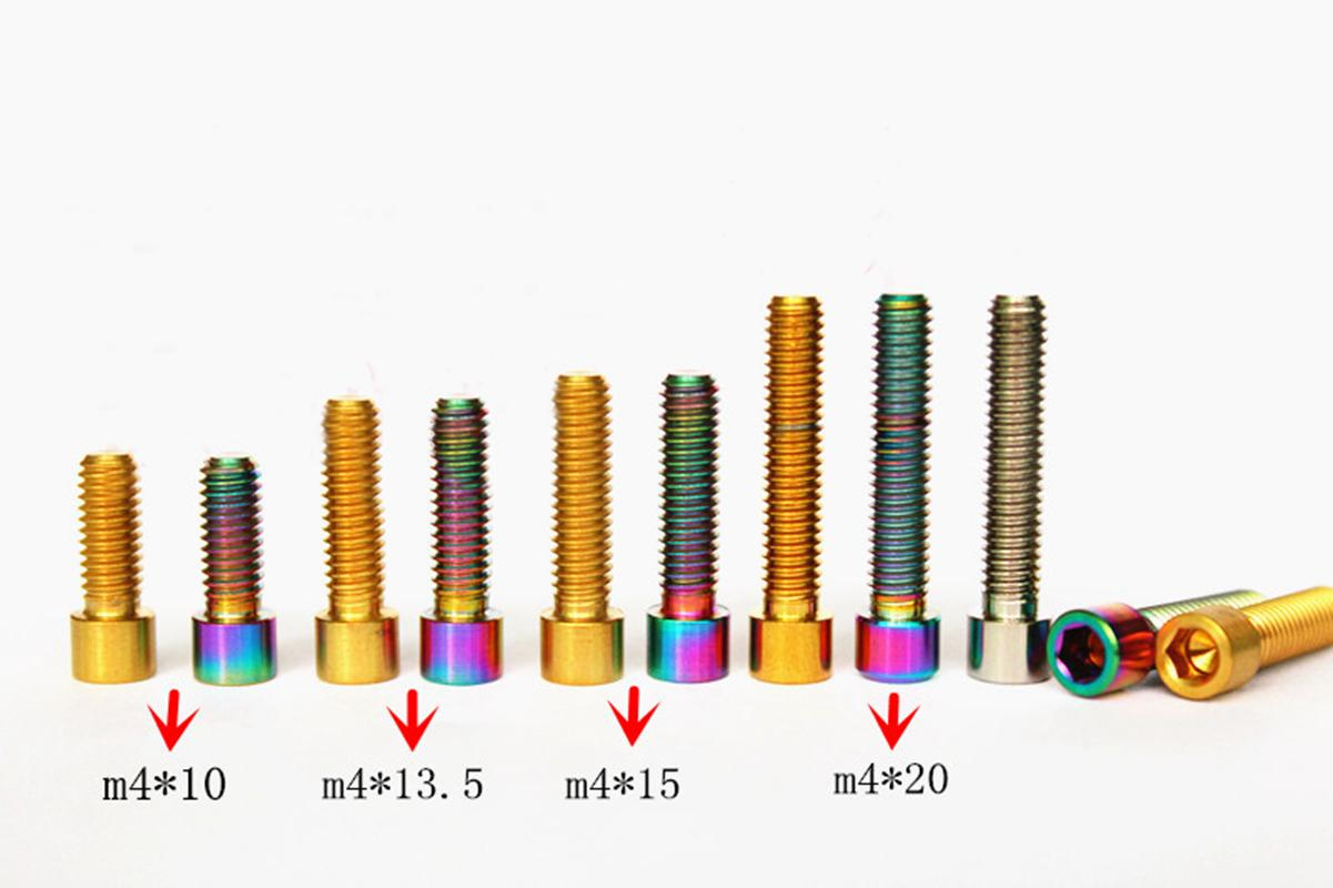 LOT4 <font><b>M4</b></font> Pitch 0.7 Length 10/13.5/15/<font><b>20mm</b></font> Color Golden/Rainbow/Ti GR5 Titanium Bolts Screws For Bike Derailleur image