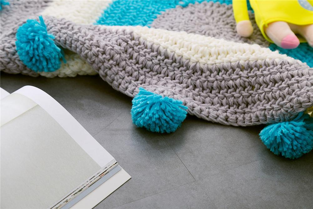 INS Children Premises Mat Hand-woven Mats Baby Play Mats Knitted Blanket Handmade Ball Children Premises Mat Crawling Mat (7)