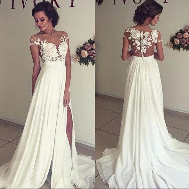 Modern Stylish Chiffon Beach Wedding Dresses Cheap Sheer Neck Lace ...