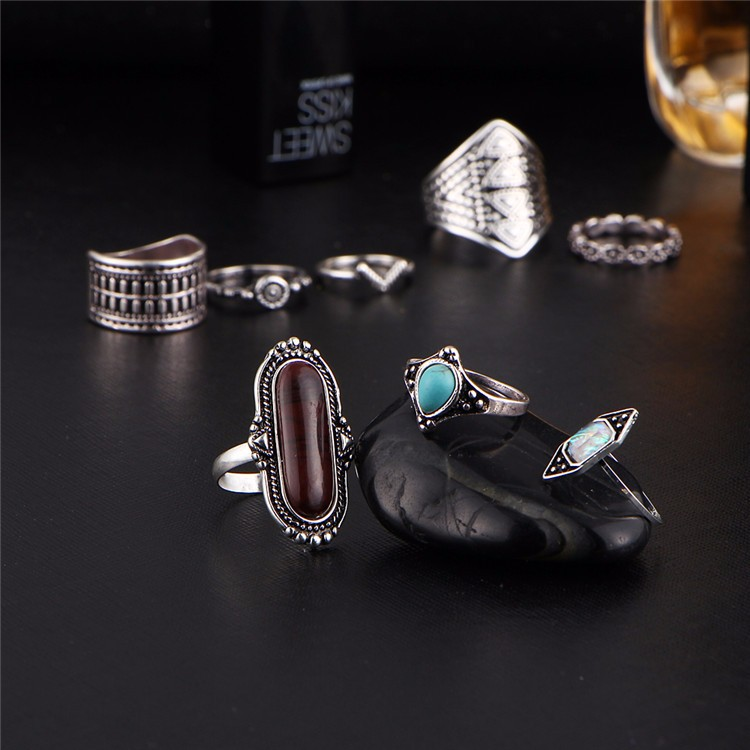 HTB1kw32OFXXXXanXFXXq6xXFXXXL Tribal Boho Jewelry Set 8-Pieces Vintage Tibetan Turkish Knuckle Rings - 2 Colors