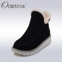 Odetina 2016 Warm Plush Platform Ankle Snow Boots Flat Women Winter Shoes Non Slip Large Size