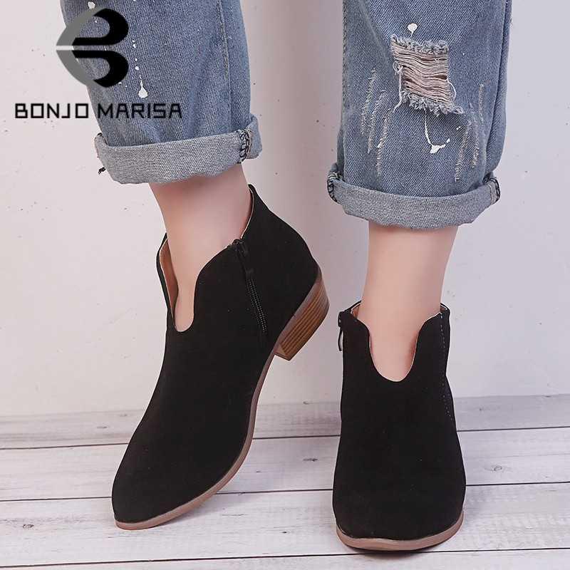 BONJOMARISA 2020 sonbahar yeni INS sıcak bayan ayak bileği patik kadın büyük boy 35-43 sıcak satış batı çizmeler kadın med topuklar ayakkabı kadın