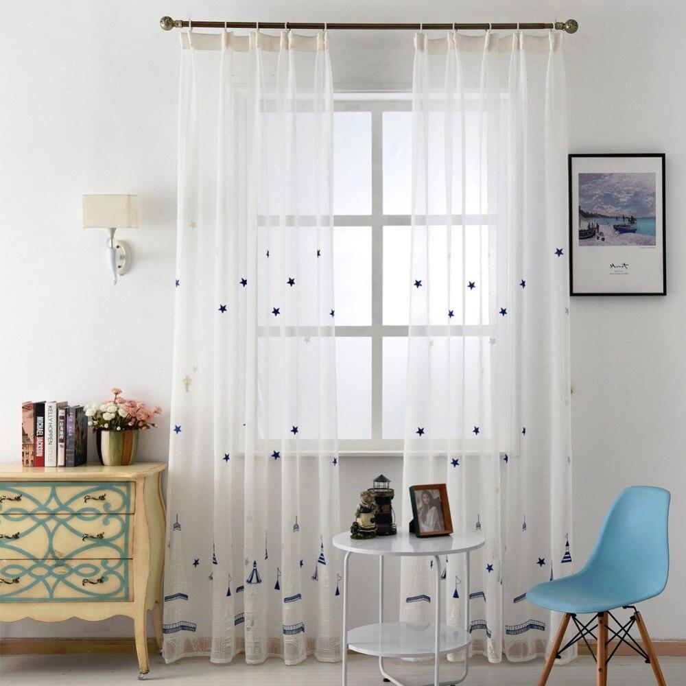 Modern white curtains - Design Fairy Window Sheer Kid Embroidered Room Fabrics Linen Modern White Cartoon Treatments Curtains Castle