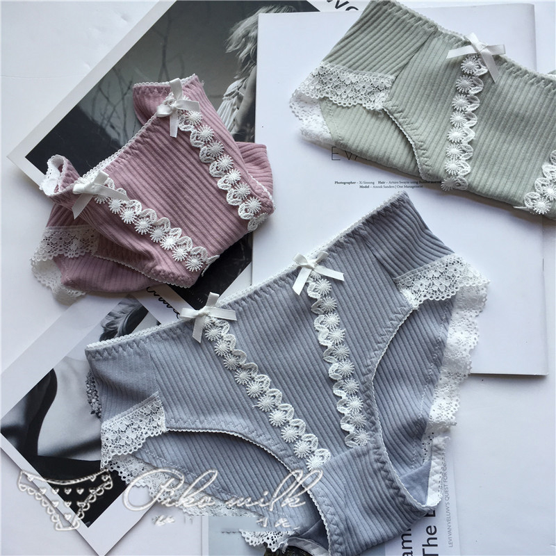 SP&CITY Japan Style Bow Cute Lace Girls Underwear Sweet Women Cotton Sexy Panties Tanga Soft Breathable Seamless Briefs Lingerie