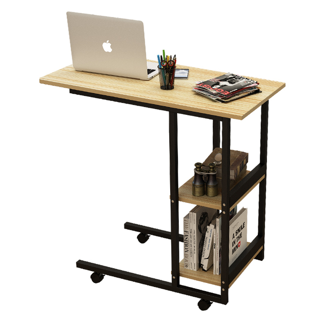 Wood Adjule Computer Table Multifunction Portable Laptop Movable Desk With Pulley