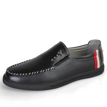 Men's Casual Slip-On Loafers Breathable Leather Driving Moccasins Boat Shoes  Mens Slip On Shoes King Size 1.5 Boat shoes ZY8328