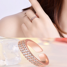 Double Row Crystal  AAA Cubic Zircon Ring For Women Fashion Jewelry Wedding Engagement Ring Female Jewelry Hot Sale romad women fashion jewelry multicolor crystal ring with aaa cubic zircon wedding ring