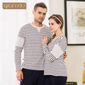 Qianxiu осенью новый пара полосатой пижаме костюмы для женщин