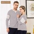Qianxiu la caída de la nueva pareja pijama de rayas trajes para las mujeres