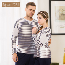 Qianxiu the fall of new couple striped pajamas suits for women