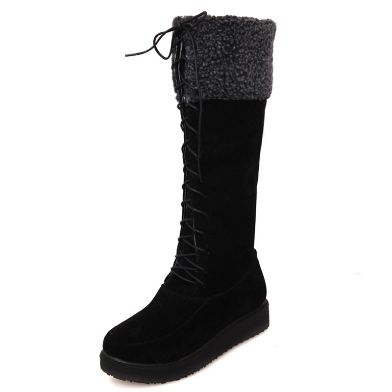 ФОТО AirfourFashion med Knee High Snow Boots For Women Platforms shoes Furry Warm Winter Boots free shipping size knight boots big