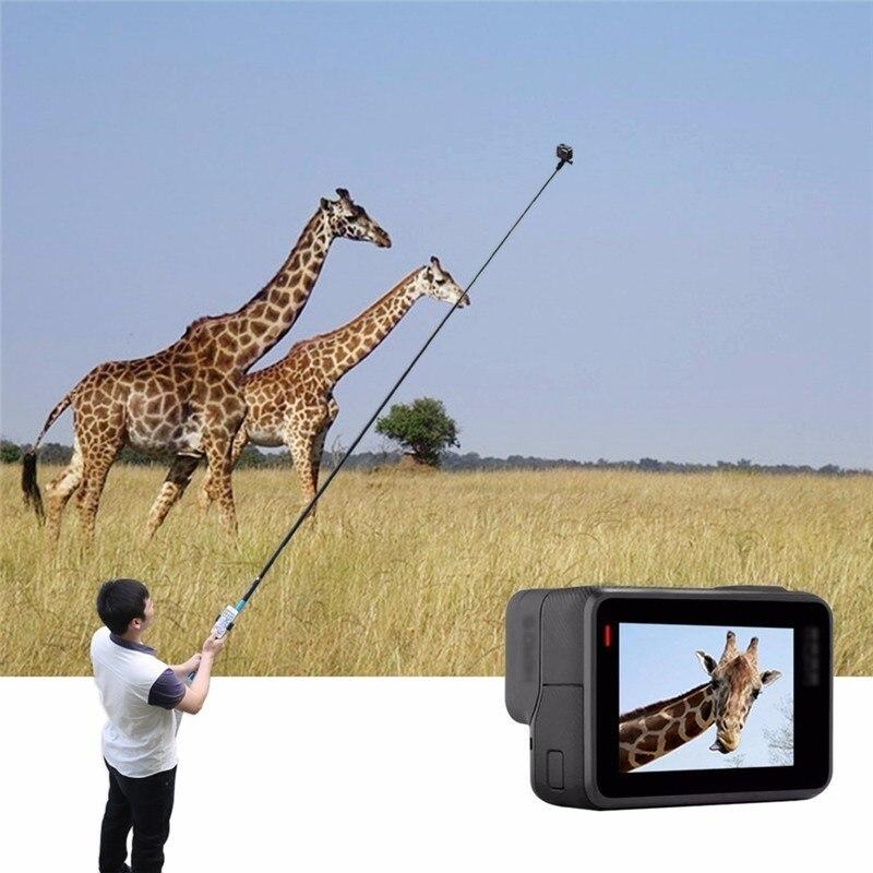 TELESIN Super Long Carbon Fiber Selfie Stick for GoPro / YI / SJCAM Action Cameras Extendable Pole Monopod Stretched Up To 2.7M