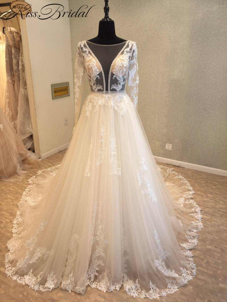 vestido de novia Modest Long Sleeve Wedding Dresses 2018 Backleess Illusion Nekcline Appliques Tulle Bride Dress