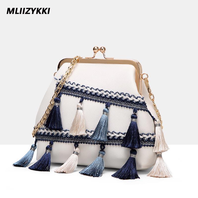 купить MLIIZYKKI Small Chains Bag Women Tassel Messenger Bags Female Handbag Shoulder Bag  Women Shell Bag недорого