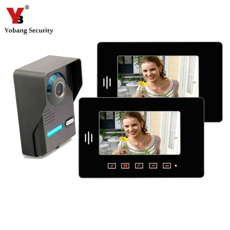 Yobang Security 7'' Video Intercom Door Phone Doorbell System Weather Proof Outdoor IR Door Bell Camera For Apartment Villa