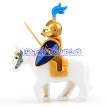 DR TONG Medieval Castle Blue Lion Knight Golden Knight Heavy Infantry with White Black Horse Bricks