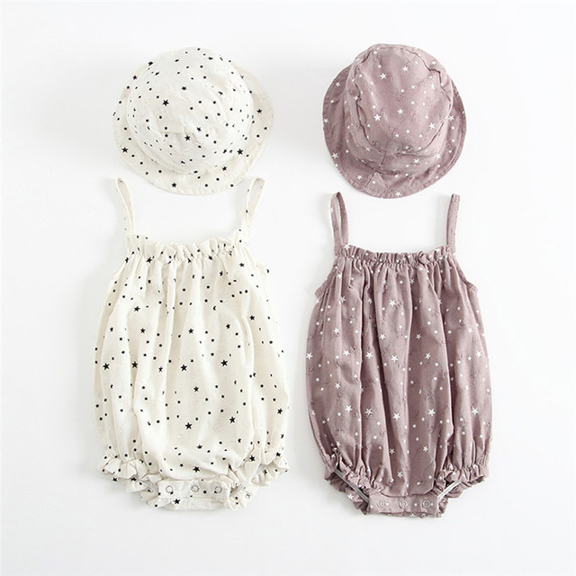 2018 Retro Baby Girls Clothes Summer Sunsuit Star Print Princess Rompers+Sun Hat Brief Set Infant Outfit Girls Jumpsuit Clothes