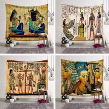 Ancient Egyptian Style Tapestry Wall Hanging Yoga Mat Beach Towel Farmhouse Polyester Civilization Blanket Party Home